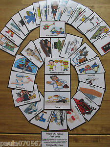 Chores~Clothing~People who help us~ Professions~ colour cards. Childminder etc