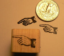 P24 Pointing finger, hand miniature rubber stamp