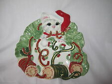 Fitz & and Floyd Christmas Kitty Kringle Canape Plate Cat Kitten NEW in BOX