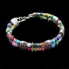 turquoise bead bracelet Tibet silver multicolor jade