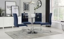 Orbit & Perth Round Glass & Chrome Dining Table And 4 Chairs Set (Blue Velvet)