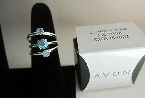 Avon Size 10 Zuri Stacks Ring Set Blue New with Box