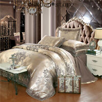 Jacquard luxury bedding set queen king sz bed set 4pcs cotton silk lace ruffles
