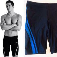 Speedo Mens Size 34 Competition Swim Trunks Suit Black Blue Racing Stripe