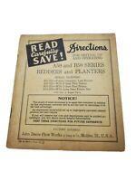 Original John Deere Manual A50 & B50 Bedders and Planters