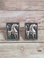 Vtg Cufflinks Tall Horse Bull Silver Color Black Western Equestrian Rectangle
