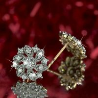 18k yellow gold gf made with Swarovski crystal stud sparkling flower earrings
