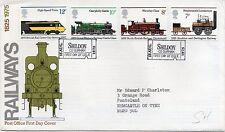 1975 Sellos Trenes Ferrocarriles primer día cubierta especial shildon billete PMK Ref:PP92