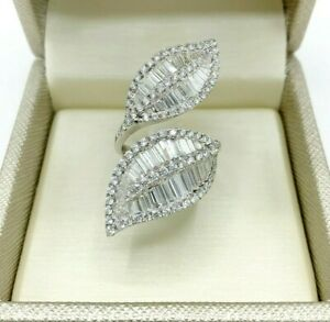 3.60 Carats Baguette & Round Diamond Double Leaves Ring1.60 Inch Length 18K Gold