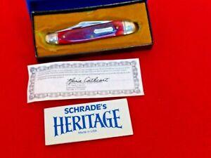 Schrade USA mint/box 7801R Heritage red bone whittler knife w/ signed paperwork