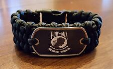 POW/MIA Black Paracord Survival Bracelet In Trilobite Belly Weave