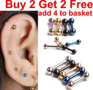 Forward Helix Cartilage Stud Tragus Ear Stud Surgical Steel Bar Ball Daith Lobe