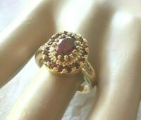 Vintage Jewelry Gold Ring with Rubies White Sapphires Antique Deco Jewellery M