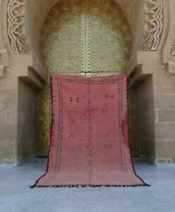 """Old Vintage Moroccan Handmade Rust Orange Red Rug Berber Wool Rug 8'10"""" x  4'11"""""""