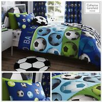 CATHERINE LANSFIELD BOYS BLUE FOOTBALL SINGLE DUVET COVER BEDDING RANGE