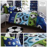 CATHERINE LANSFIELD BOYS BLUE FOOTBALL SINGLE DUVET COVER BEDDING RANGE