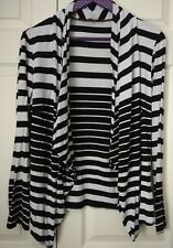 Principles Size 14 Waterfall Black & White Striped Cardi