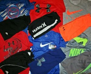 LOT OF UNDER ARMOUR & NIKE shorts shirts hoodie Boys size YSM 6 7 8 One NWT