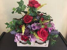 Silk Flowers Table Center Piecew/Roses, Hydrangeas & IvyinWood Drawer