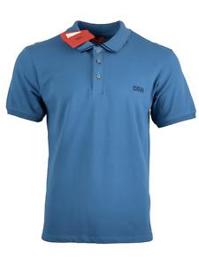 Hugo Boss Men's Pacific Blue w/Dark Blue Polo Shirt Dyler Reverse Logo Cotton