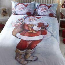 100% Cotton Flannelette Classic Father Christmas Single Duvet / Quilt Cover Set