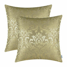 2Pcs Gold Cushion Covers Pillows Shells Cases Damask Florals Home Decor 18x18 in