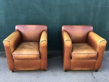Pair of Tan Leather Armchairs (Bar / Cafe / Bistro / Pub / Restaurant Chairs)