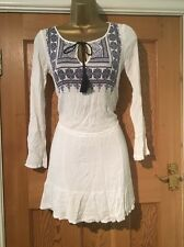 H&M Divided Hippy Chick Boho Sexy Tunic Embroidery Tassels Drawstring Waist