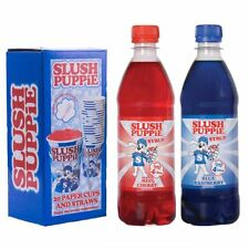 Official Slush Puppie Blue Raspberry, Red Cherry Syrup & 20 Cup and Straw Set