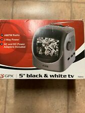"""GPX 5"""" Black & White Portable TV and AM/FM Radio 3 Way Power AC/DC/Battery NEW"""
