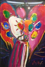 Peter Max Angel with heart acrylic on serigraph limited edition