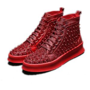 Punk Rivet Sequins Shiny Lace-Up High Top Casual Shoes Men Hip Hop Fashion Flats