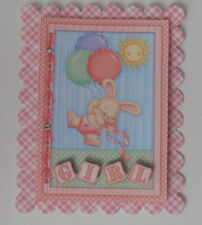 PACK 2 BABY GIRL BUNNY AND BALLOONS EMBELLISHMENT FOR CARDS AND CRAFTS