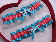 * NEW Beautiful Coral Turquoise Ivory Wedding Prom Garters