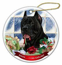 Black Cane Corso Porcelain Hanging Ornament Pet Gift Santa I Can Explain!