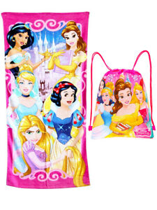 Girls Disney Princesses Beach Towel & Sling Bag 2-Piece Pink