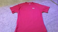 Under Armour Heatgear T-Shirt Mens Size M Red With White Logo Nice!