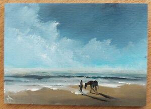 Original ACEO William Jamison Miniature Oil Painting Beach Horse Riding Ireland