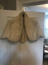 Vintage White Fur Cropped Cape