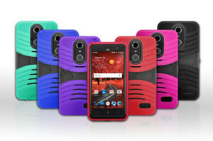 For AT&T ZTE Blade Spark /Z971 Rugged Armor Hybrid Kickstand Cover Case