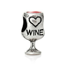 Red Wine Goblet Love Heart Glass Word Drink Enamel Charm for European Bracelets