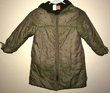 girls Made France Size 6 green Winter Coat long Bows On Sleeves Hood fleece ins