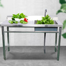 Commercial Catering Stainless Steel Kitchen Prep Sink With Faucet Tap Drainboard