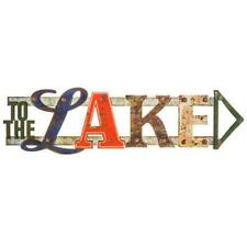 "RUSTIC STYLE ""TO THE LAKE"" METAL TIN ARROW SIGN BEACH COTTAGE/NAUTICAL  __GA"
