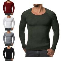 Men Sweater Knitted Autumn Winter Fashion Striped Solid Color Slim Fit Pullovers