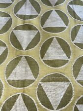2 panels vintage Curtains; green and beige geometric plastic lining