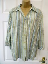 AFIBEL Ladies Size 18 Green Blue Striped Crinkle 3/4 Sleeve Tunic Blouse Top