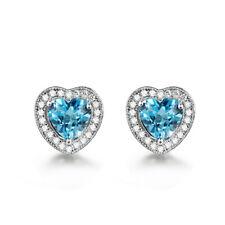 BLUE TOPAZ HEART EARRINGS - WITH CZ STONES - ELEGANT FASHION - GIFT BOX - 00766A