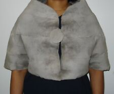Revillon Paris NY Grey Sheared Mink Fur Bolero Jacket Stole Size 2-4 EXCELL COND