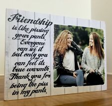 "7x5"" Personalised  Photo & Text Block Plaque Friendship Best Friend Present Gift"